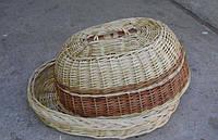 """Плетеная хлебница из лозы""""Овальная белая"""""""