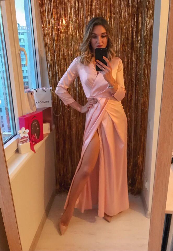 """Длинное шелковое платье-халат """"Джорджия"""" с четвертным рукавом (3 цвета)"""