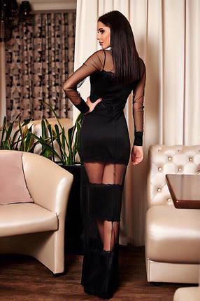 """Длинное облегающее вечернее платье """"ROUMER"""" с кружевом и вставками из сетки, фото 2"""