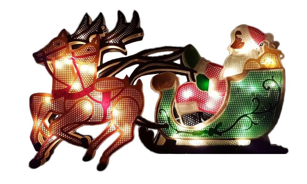 """Новогодняя гирлянда """"Дед Мороз и олени"""" 35 LED"""