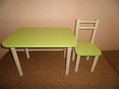 Один стілець і стіл, різні кольори: бук, лайм, голуб, лаванда