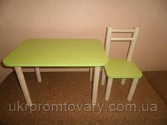 Один стул и стол, цвета разные: бук, лайм, голуб, лаванда