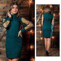 """Короткое комбинированное платье-гольф """"TRAST"""" с рукавами из сетки (3 цвета), фото 2"""