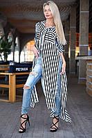 Стильное  платье-рубашкав пол в полоску