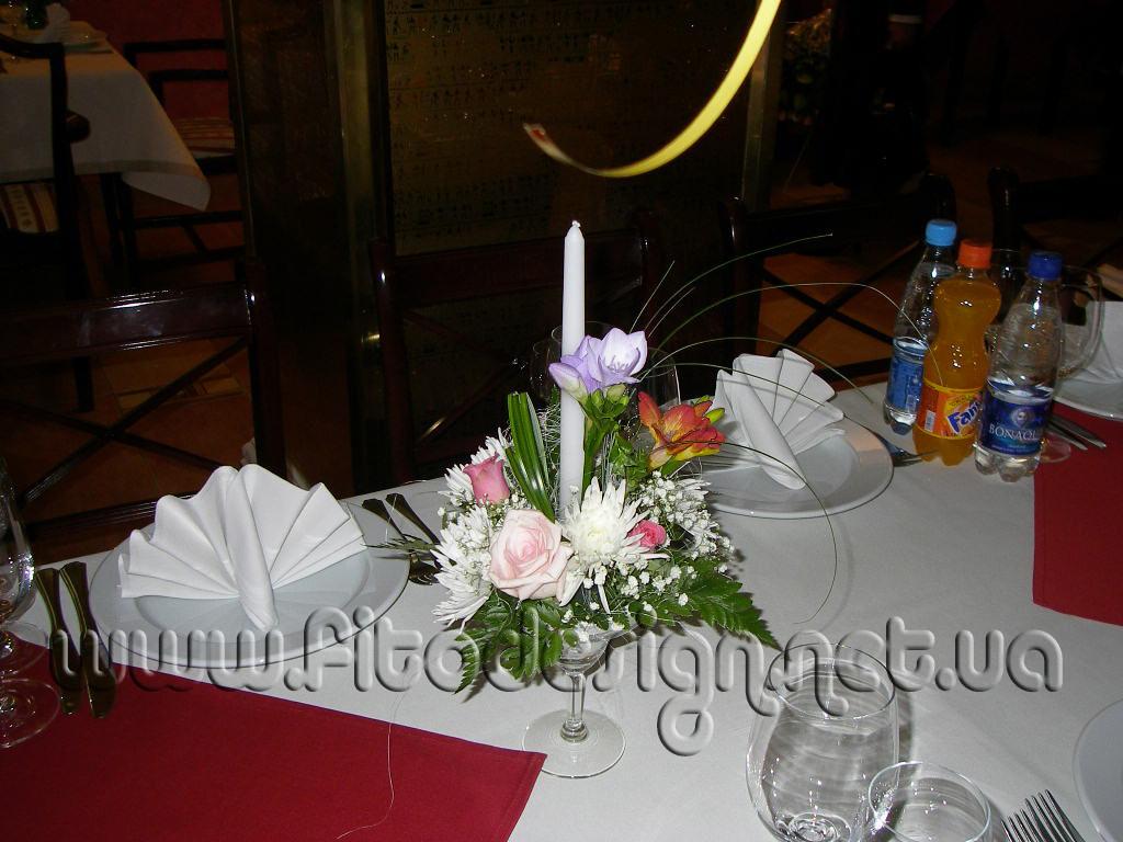 Композиции на столы гостей со свечами