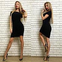 Облегающее платье в складку со спадающим плечом