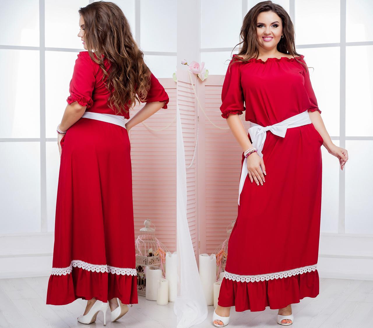 8854206a752 Платье Макси с Горловиной на Резинке и Отороченное Кружевом Батал ...