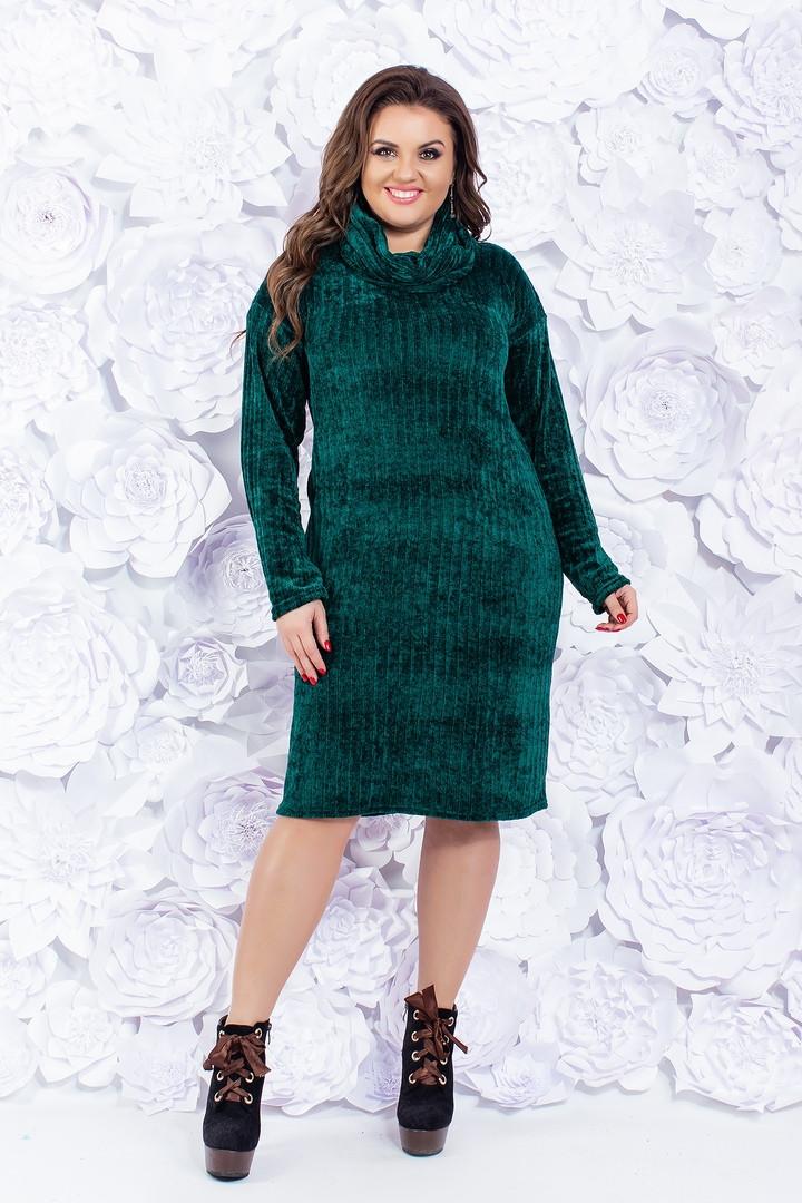 """Вязаное платье прямого кроя """"SOFT"""" с шарфом в комплекте (большие размеры)"""