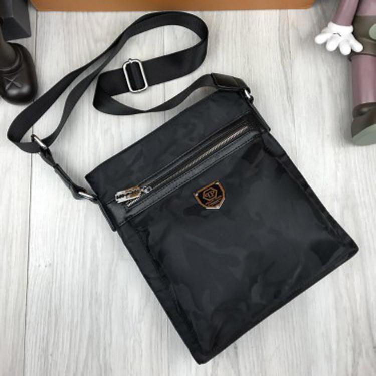 1f937680450d Трендовая мужская сумка-планшетка Philipp Plein черная унисекс через плечо  текстиль Филипп Плейн люкс реплика