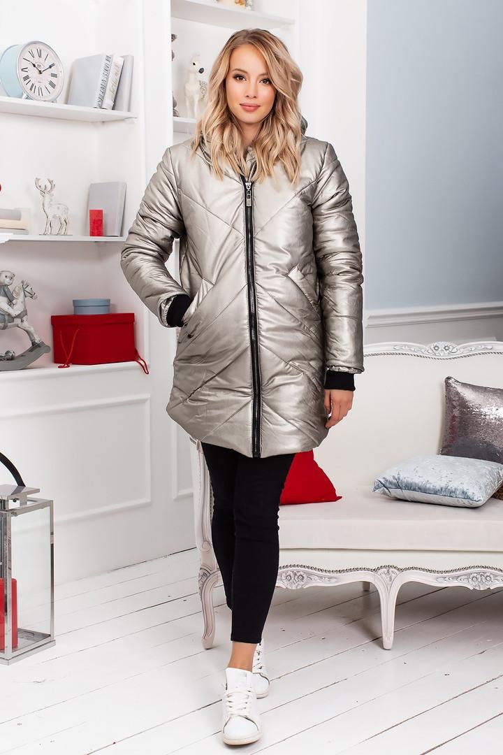 fde6133f2cc Стеганое женское кожаное пальто