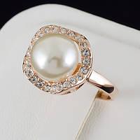 Сказочное кольцо с жемчугом и кристаллами Swarovski и c позолотой 0444
