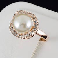 Сказочное кольцо с жемчугом и кристаллами Swarovski и c позолотой 0444 17 Белый