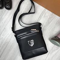 Новинка мужская сумка планшетка Philipp Plein черная текстильная унисекс через плечо Филипп Плейн реплика, фото 1