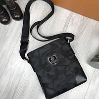 b4c9d37b2da9 Красивая женская сумка-планшетка Philipp Plein черная через плечо текстиль  унисекс Филипп Плейн люкс реплика