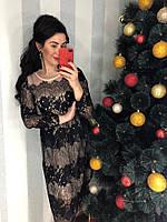 Праздничное платье из ажурного кружева на трикотажной основе.  Размер: М-42 И Л-44. Цвет:кремовый (0342)