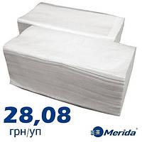 Полотенца бумажные Merida Universal белые листовые V-сложения двухслойные, Украина