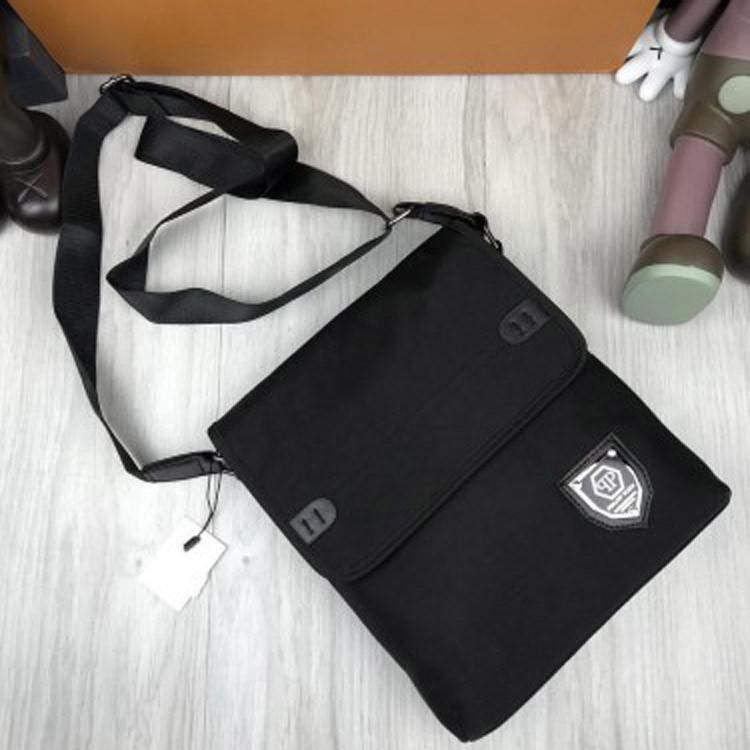 Новая модель женская сумка планшетка Philipp Plein черная унисекс через плечо текстильная Филипп Плейн реплика