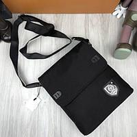 Новая модель женская сумка планшетка Philipp Plein черная унисекс через плечо текстильная Филипп Плейн реплика, фото 1