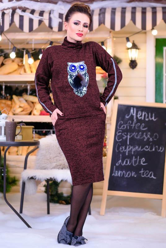 Бордовий зимовий костюм Рената