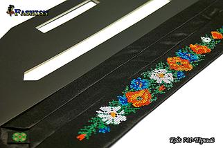 Узкий вышитый галстук Цветы, фото 3