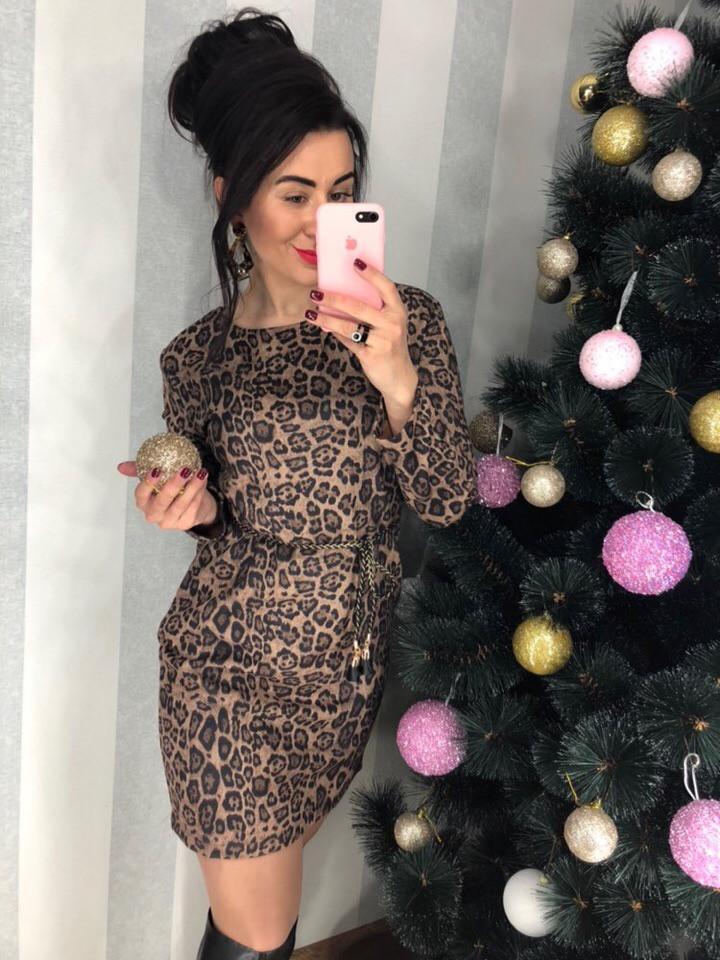 Трикотажное платье с леопардовым принтом. Размер: М-42, Л-44 .ХЛ-46. Цвет: коричневый (0352)