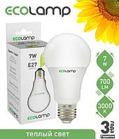 Светодиодная лампа ECOLAMP LED A60 7Вт E27 595lm 3000K