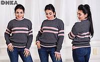 Теплый вязаный свитер с принтом полоски