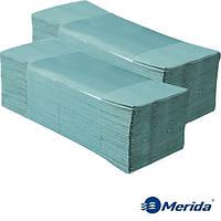 Полотенца бумажные Merida 4000 зелёные листовые V-сложения однослойные, Польша