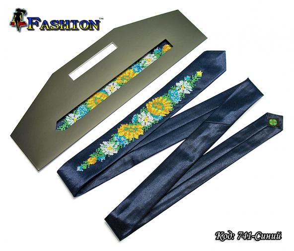 Вузька синя вишита краватка Квіти
