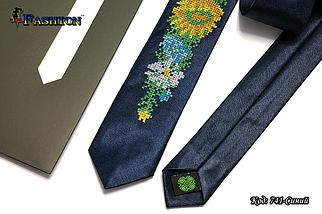 Вузька синя вишита краватка Квіти, фото 2