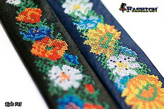 Вузька синя вишита краватка Квіти, фото 3