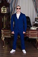 Классический мужской костюм двойка синий в клетку