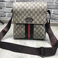 Молодежная мужская сумка планшетка Gucci коричневая качественная унисекс  через плечо кожаПУ Гуччи люкс реплика 2e541978165