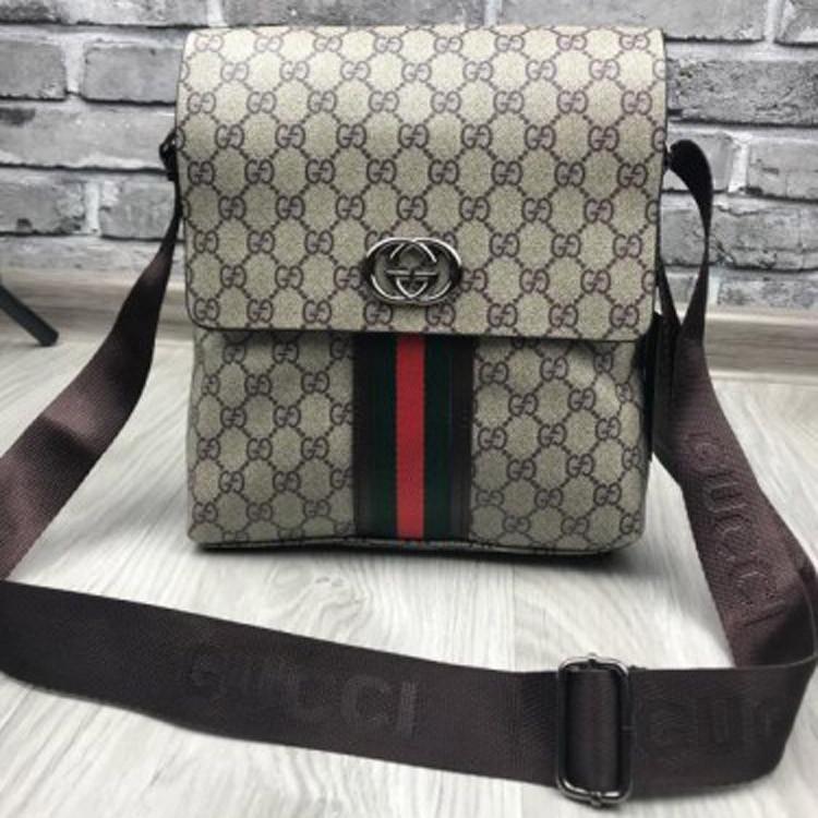 a4636b4c39fe Молодежная мужская сумка планшетка Gucci коричневая качественная унисекс  через плечо кожаПУ Гуччи люкс реплика - Ваш