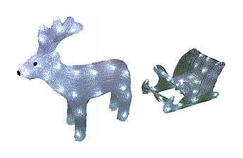 Новогодняя акриловая статуя оленень с санками, Светящиеся новогодние олени 70 LED, фото 2