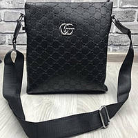 Красивая женская сумка-планшетка Gucci черная сумочка планшет через плечо  прессованная кожа Гуччи люкс реплика 57c578b5d718e