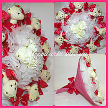 Букет из мягких игрушек 7 мишек / плюшевый букет / подарок на день рождения / подарок в роддом