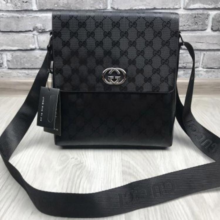 86db0bcd805d Элегантная женская сумка планшетка Gucci черная сумочка унисекс через плечо  кожзам Гуччи премиум реплика