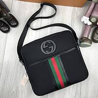 Стильная мужская сумка-планшет Gucci черная планшетка через плечо унисекс  текстиль Гуччи премиум реплика 32b680528e9
