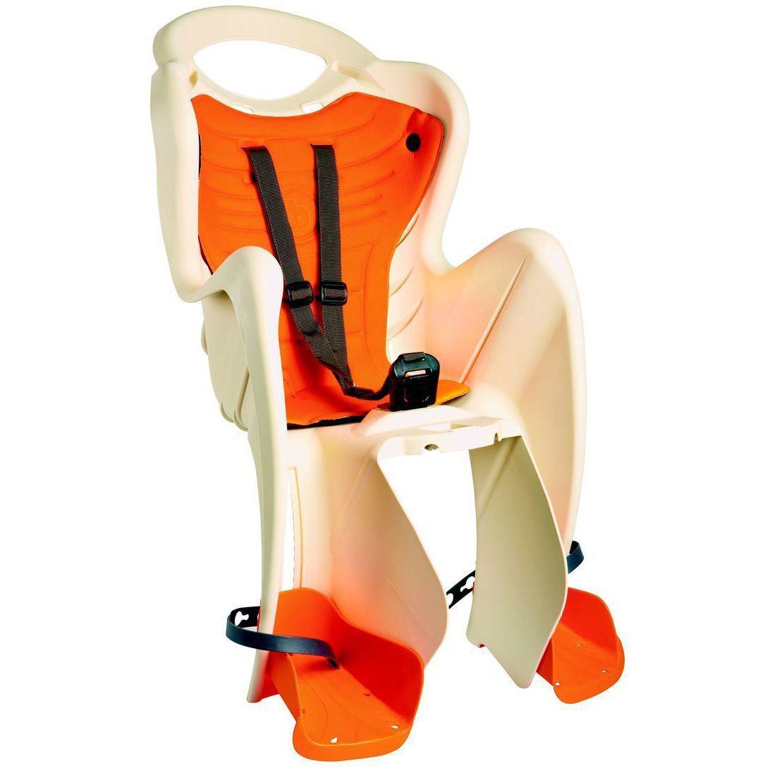 Сиденье заднее BELLELLI B1 clamp  детское   до 22кг (бежевый с оранжевым) крепится на багажник