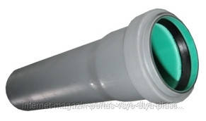 Труба 50х1,8х250 ПП Европласт раструбная с уплотнительным кольцом для внутренней канализации серая