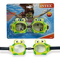 Intex 55603-green, детские очки для плавания, Обитатели моря. Лягушки, фото 1