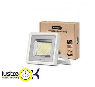 LED прожектор 50W 5000K 220V белый корпус  VIDEX PREMIUM