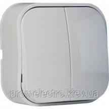 Выключатель двуклавишный накладной Horoz EVA белый, фото 2