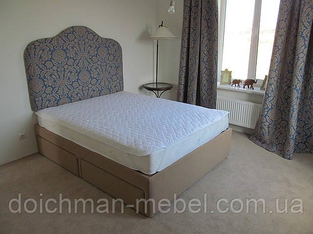 купить двуспальные кровати с мягким изголовьем и выдвижными ящиками