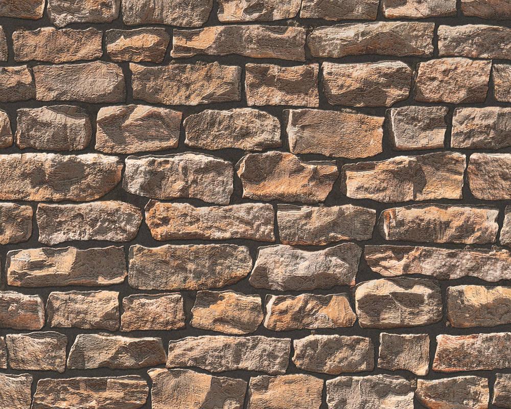 Обои - супермойка, рельефные с 3д узором кладки камней коричневого цвета 907912