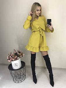 Женское однотонное повседневное весенне-осеннее мини платье с поясом,рукав длинный (костюмка) 5 цветов