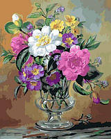 Картины по номерам 40×50 см. Незабудки и примулы в стеклянной вазе Художник Альберт Уильямс