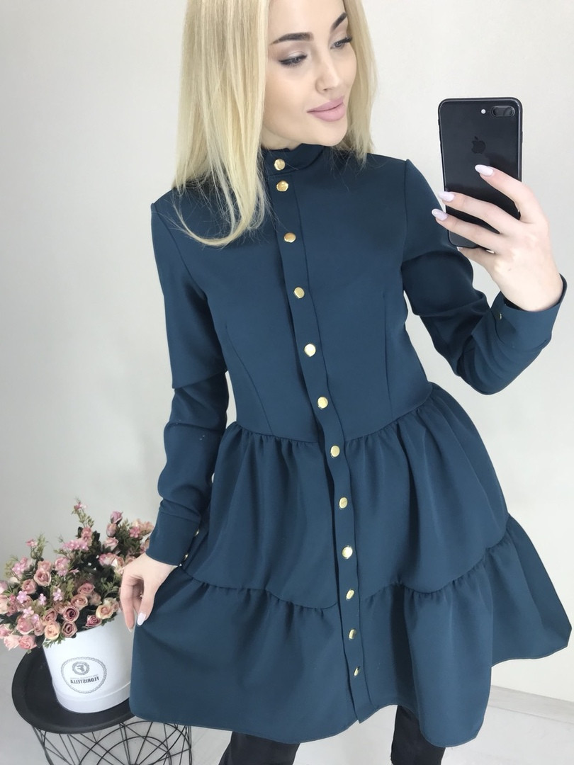 110d7e7ae34 Женское однотонное стильное повседневное весенне-осеннее мини платье с длинным  рукавом (костюмка) 5