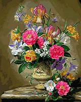 Картины по номерам 40×50 см. Пионы и ирисы в керамической вазе Художник Альберт Уильямс